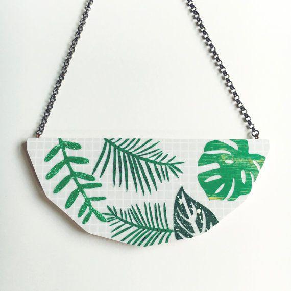 Foliage Necklace in Grey - monstera leaf, palm leaf, fern leaf