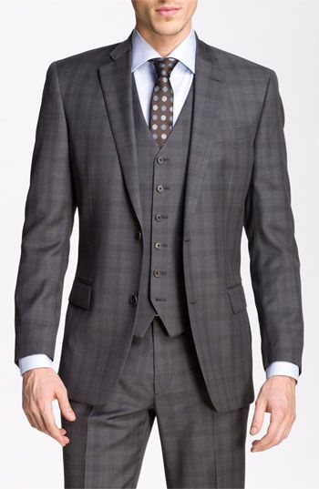 John Varvatos Star USA 'Chester' Plaid Three Piece Suit available at #Nordstrom