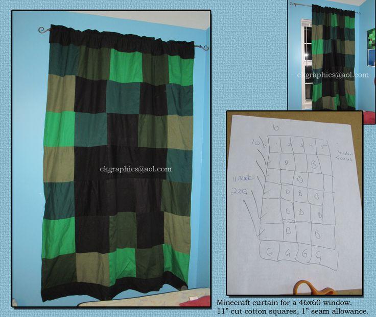 Minecraft DIY Window Curtain Boys Room Bedroom Creeper Sewing Boys Bedrooms Window Curtains