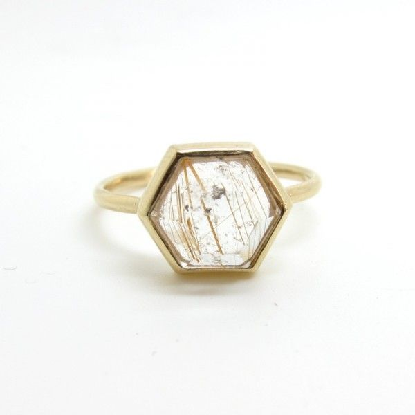 This hexagonal quartz engagement ring is perfect for the bride who is looking for sizable statement piece, but without the drama of additional gemstones. (Claire Kinder, $590)