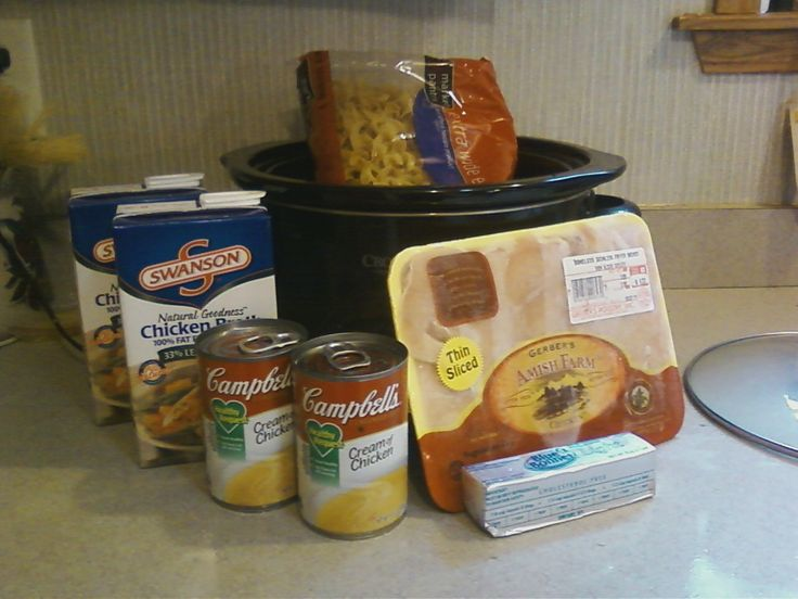 Creamy Chicken & Noodles! Combine 3-4 boneless, skinless chicken breasts, 2-10.75 cans of cream of chicken soup, 1/2 cup of butter (sliced) and 42 oz. of chicken broth in your crock pot. Cover & cook on low for 8 hours. Add bag of egg noodles. cook for 1 more hour.