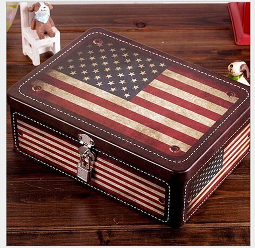 Vintage American Flag Hidden Safe Lock Cash Money Jewellery Storage Box w Lock  #Unbranded