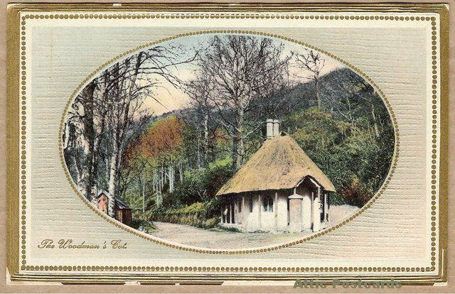 Vintage postcard of 'The Woodman's Cot', possibly in Australia, or more likely just used in Australia. (Ward Lock & Co. had offices in London, Melbourne and Toronto and this card is from a collection of Australian ones.) Printed in Saxony.