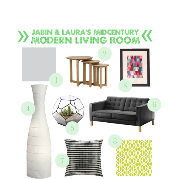 Our midcentury modern living room 1. Tranquil Retreat by Dulux 2. Stockholm Nesting Tables Freedom 3. Paintchip artwork 4. STORM lamp from IKEA 5. Terrarium 6. KARLSTAD leather lounge from IKEA 7. STOCKHOLM Cushion from IKEA 8. Koo curtains from Spotlight