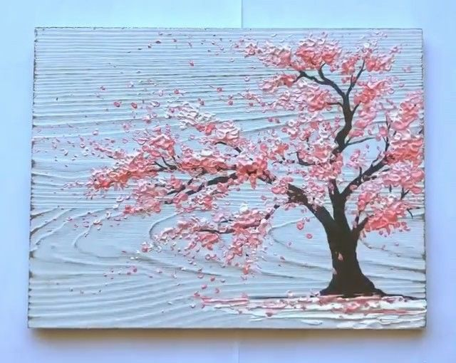 Love This Cherry Blossom Painting On Wood Sakura Painting Cherry Blossom Art Cherry Blossom Painting Acrylic