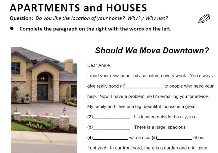 Apartments and Houses - a cool 10-page lesson for ESL / EFL students.