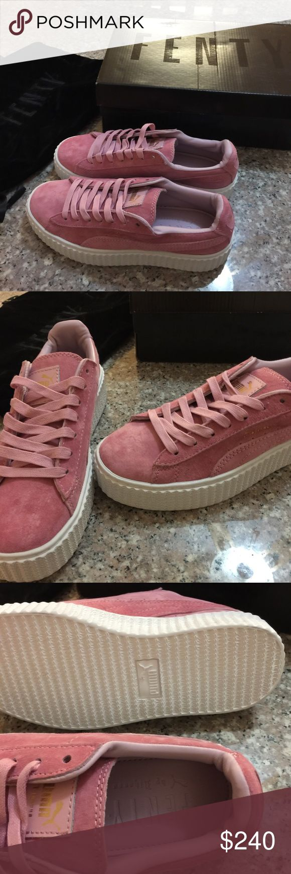 NEW Fenty pink suede creepers New. Comes with dust bag and box like the pictures. Size 7.5, 24cm. Available on 〽️ercari for $210 or 🅿️🅿️ Puma Shoes Platforms