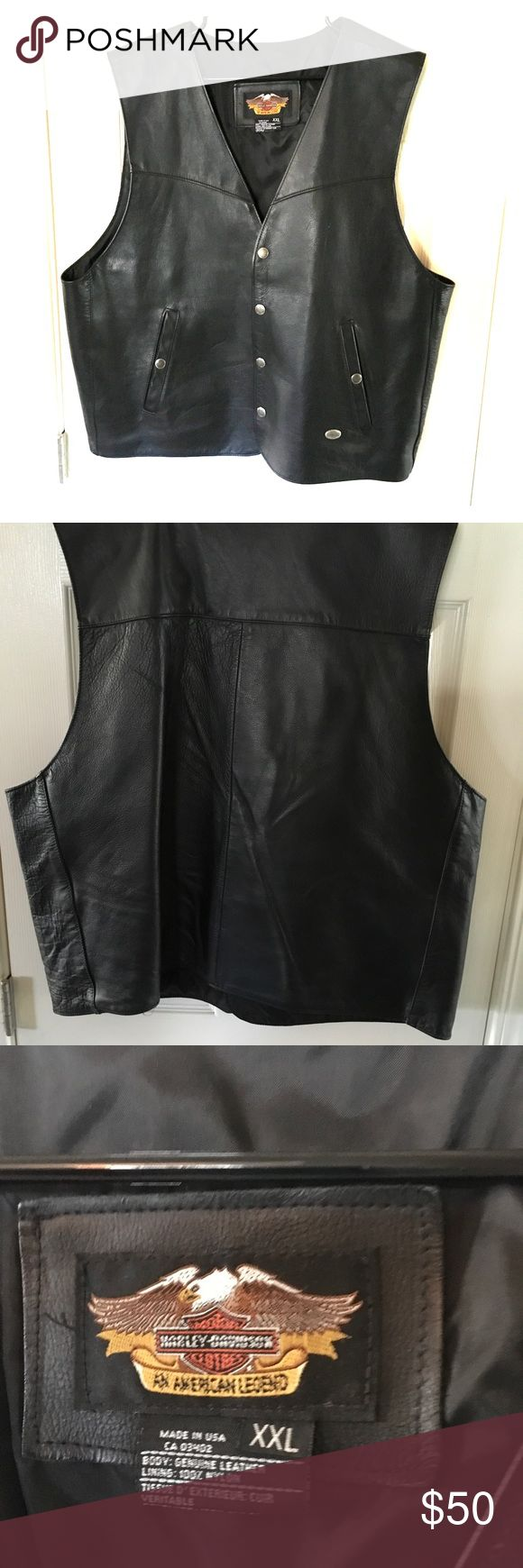 """Harley Davidson  Vest & Leather King Chaps Like new 2XL black leather Harley Davidson motorcycle vest & 4XL black Leather King chaps. (4XL = 48"""" waist). No spots, wear or tear on either item. Would consider selling separately for $30 each item. Great buy for motorcycle weather coming up! Harley Davidson & Leather King Other"""