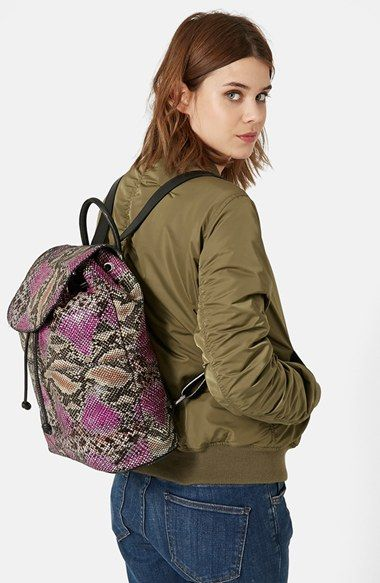 Topshop Snakeskin Print Leather Backpack (Brit Pop-In) available at #Nordstrom