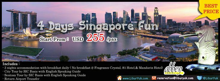 Bingung liburan mau kemana? Yuk liburan ke #Singapore aja. Kini tersedian paket 4 Hari Singapore #Fun . Buruan booking sekarang juga sebelum kehabisan!  Dapatkan Spesial Paket tersebut dari #LiburYuk http://liburyuk.com/promotional-package/book/544711841/4D/3N-Singapore-FUN #AbbeyTravel #Tour #jalan2 #holiday