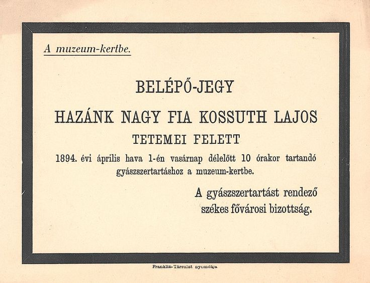 1894. Kossuth Lajos temetése - Belépő a Múzeum-kertbe