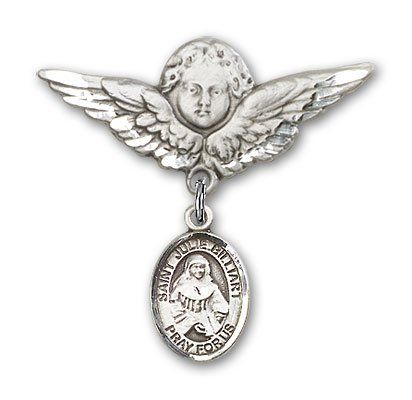 ReligiousObsession's Sterling Silver Baby Badge with St. Julie Billiart Charm and Angel with Wings Badge Pin *** Visit the image link more details. (This is an Amazon Affiliate link and I receive a commission for the sales)