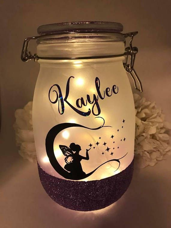 Personalized Mason Jar Light Fairy Light Christmas Gift Night Light Gift For Girl Girls Bedroom Present Of Personalized Mason Jars Jar Crafts Mason Jars