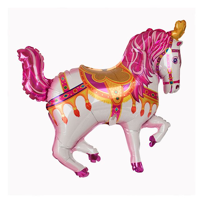 Ballon Mylar Cheval de cirque rose