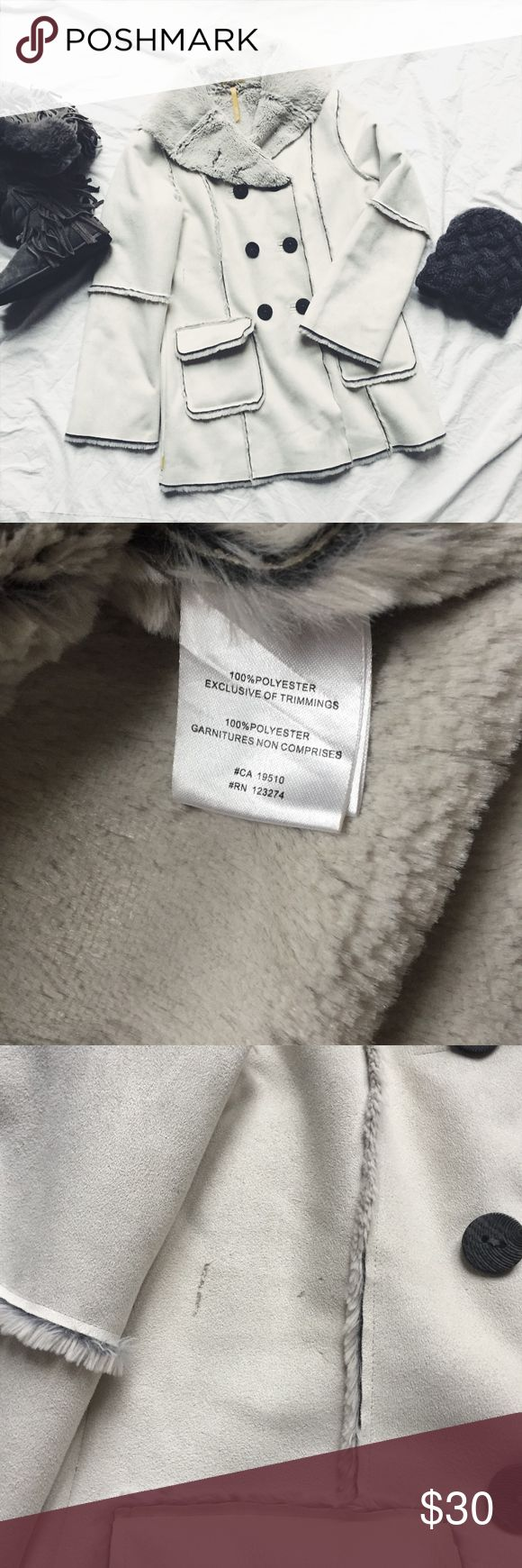 Lole faux suede/shearling winter white coat sz L Pre-loved Lole gray / winter white coat in good used condition.  Size L (10 - 12).  Machine washable.  Very warm, at least for winter in the south!  SUPER SOFT on the inside.  There is a spot that won't come out as shown in photos and I have priced it accordingly (this was over $200 new.)  Beautiful coat! Lole Jackets & Coats