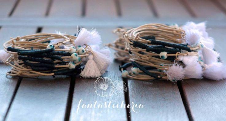 beige+blue+evil eye bead+tassel bracelets
