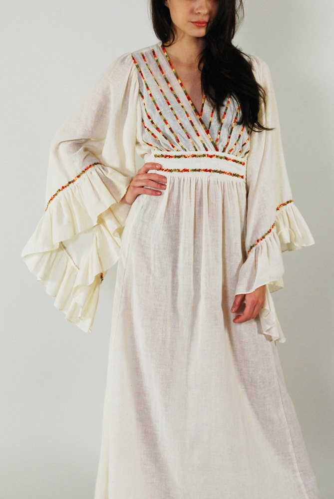 Vintage Bell Sleeve Hippie Dress 70s Boho Hippie