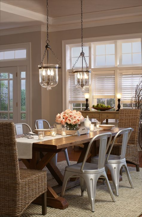 "I love these ""galvanized steel"" looking chairs with this farmhouse style table. Just beautiful!"