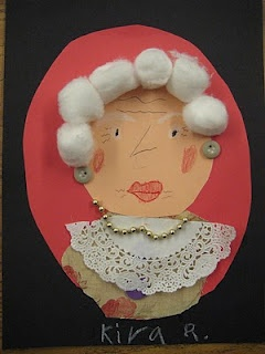 100th day activity - children created pictures of what they will look like at 100 years old.