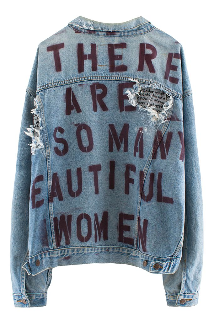 Filed under DENIM IS IN by rickrafsimons / Stencil lettering print / Denim jacket / Words on the back / Message