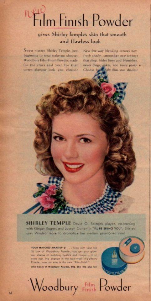 Modern Screen February 1945 Shirley Temple for Woodbury Film Finish Powder