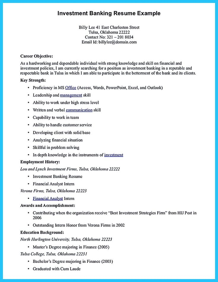 Best 25+ Good resume objectives ideas on Pinterest Career - investment banking resume sample
