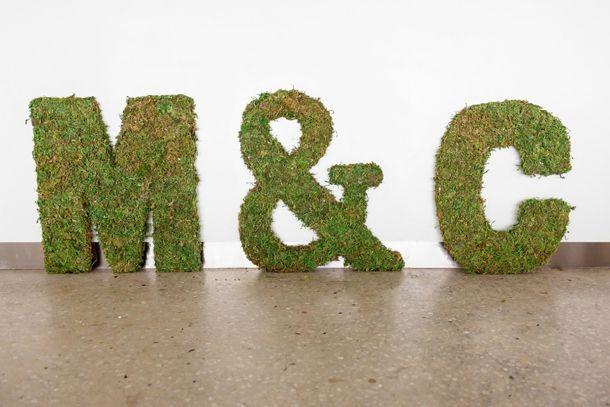 DIY moss monograms