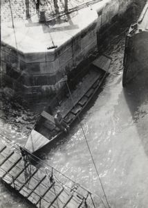Untitled (boat in waterway), Imre Kinszki, c. 1930, vintage gelatin silver print, 6 5/8 in. x 4 3/4 in. Currier Museum of Art.