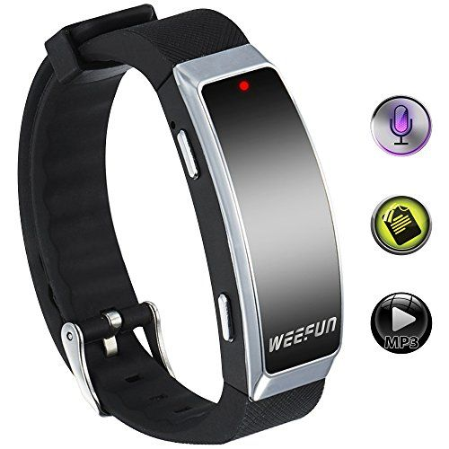 WEEFUN WF-68 Upgraded Digital Voice Recorder Wristband & MP3 Player, USB Rechargeable Spy Voice Activated Recorder for Class Sports Lectures Meetings Interviews - Wearable Technology Black (8GB) * Click image for more details.