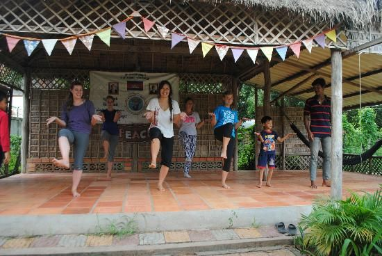 """Cambodia-Traditional Khmer Dancing at Cambodian Children's House of Peace: the children teaching us how to do the """"monkey dance"""""""