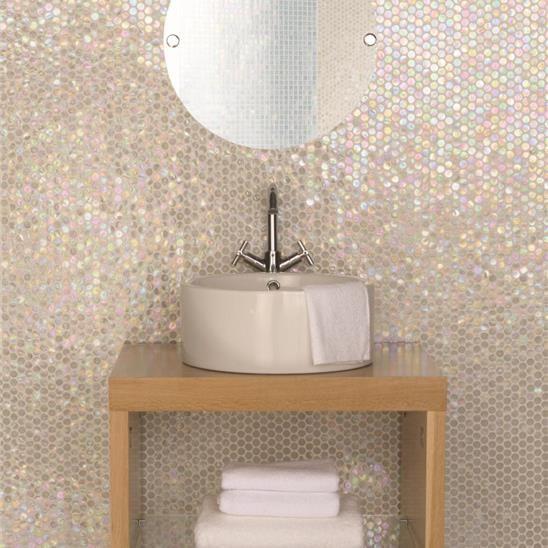 White Lady Iridescent Round Glass Mosaic