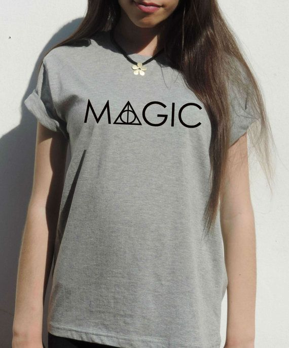Welcome to FavoriTee!  Harry potter clothing, MAGIC with the heathly hallows sign.  Colors: white, light gray,black.  THE QUALITY:  -FABRIC: High