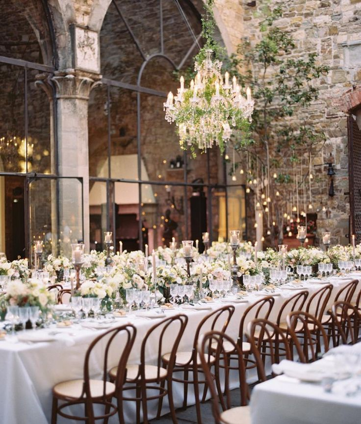 long table setup wedding reception%0A Long tables  crystal chandeliers dripping in greenery and a medieval  Italian castle to set the whole scene  u     it doesn u    t get any better than this  beautiful