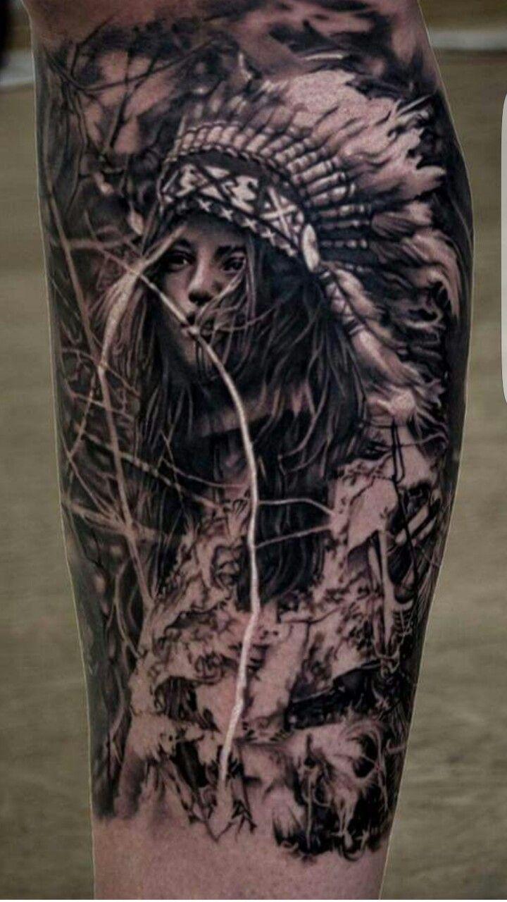 Indianer Frau Tattoo