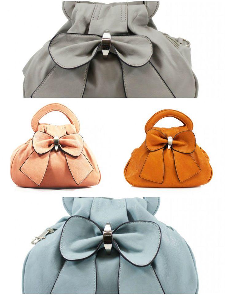 Fashion Ladies Faux Leather Bow Grab Bag Women Shoulder Tote Satchel Girls Bags #Clicktostyle #Grabhandbag