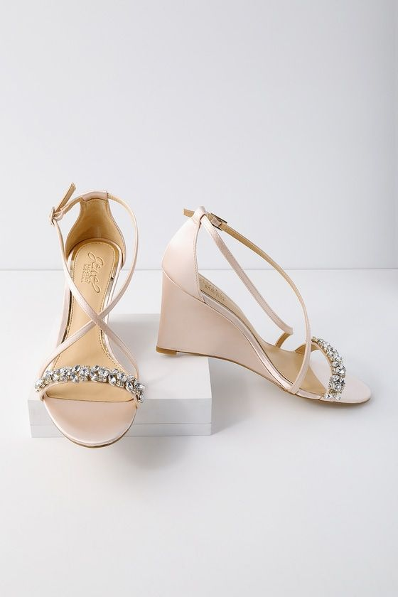 0496b6ded Nothing says romance like the Jewel by Badgley Mischka Little Champagne  Satin Wedge Dress Sandals! Stunning satin shapes a rhinestone encrusted toe  strap ...