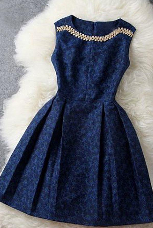 Cute Navy Blue Bridesmaids Dress with embellishing.