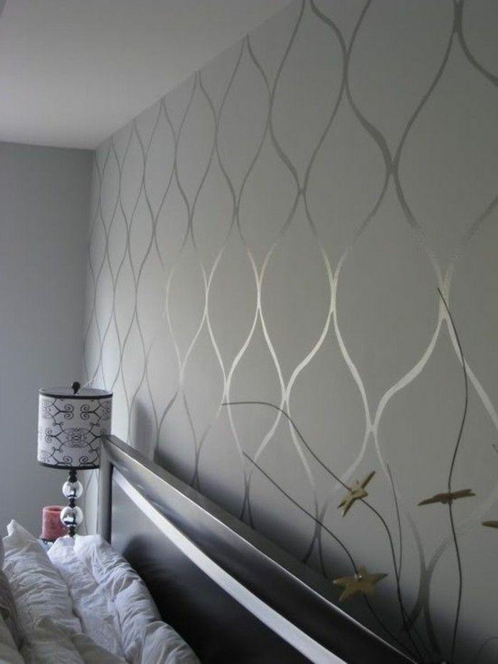 chambre a coucher avec papier peint gris motifs decoratifs originaux mur 700 933. Black Bedroom Furniture Sets. Home Design Ideas
