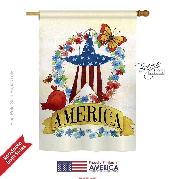 America Banner Star House Flag for sale at GardenFlagsForYou.com