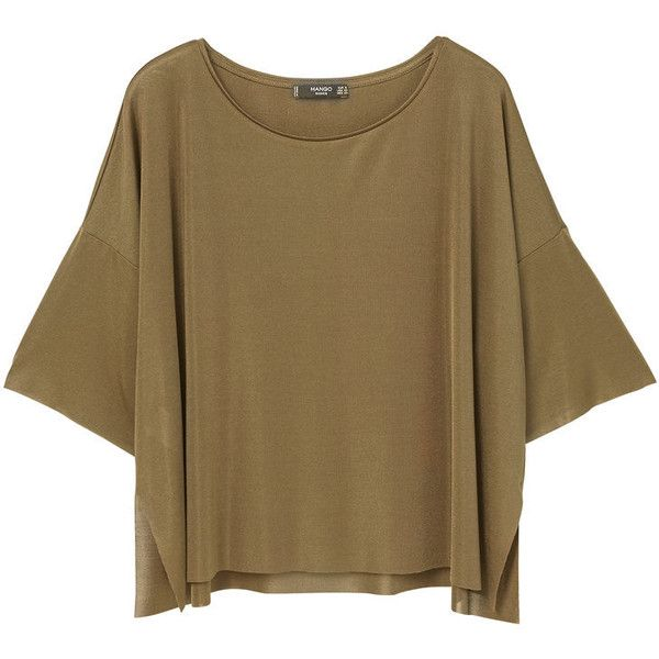 Fine-Knit T-Shirt ($20) ❤ liked on Polyvore featuring tops, t-shirts, mango tee, side slit t shirt, mango t shirt, brown top and seamless top