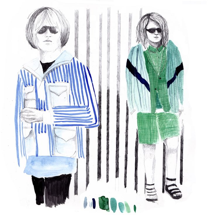 Daily Doodles: Chitose Abe continued Sacai's elegant sportswear whilst adding small doses of abstract camouflage. Illustration Clara Lacy