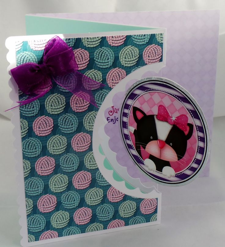 Cute black and white kitten, spinning, greeting card