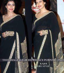 Buy Black georgette Designer saree with Sequins work  bollywood-saree online