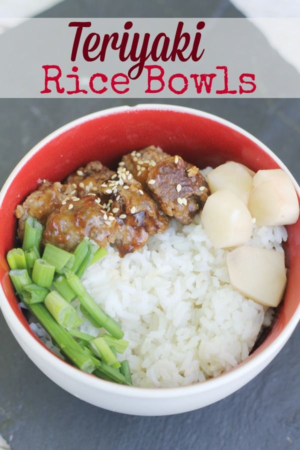 Teriyaki Rice Bowl Recipe- teriyaki meatballs, homemade teriyaki glaze, water chestnuts, green onions and more make for a fun rice bowl meal. #CreateaStir with Della Rice #stirmakers #client
