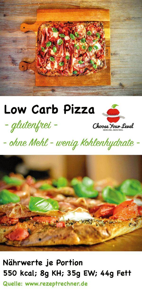 Low Carb Pizza - glutenfrei -  wenig Kohlenhydrate  Zutaten: Pizzaboden: 40g Frischkäse 1 Ei (Gr L) 100g Mandelmehl 1 EL geschrotete Leinsamen (oder Flohsamenschalen) 2g Trockenhefe 1 TL Backpulver 1 TL Salz 2 Pck Mozzarella etwas Olivenöl 1 TL Rosmarin 2 TL Oregano 2 TL Basilikum Für die Tomatensoße: 1 Dose gehackte Tomaten 2 Stangen Fühlingszwiebeln 1 Knoblauchzehe Salz, Pfeffer, Xucker Für den Belag: 1 Pck Mozzarella 2 Tomaten Salami, Schinken