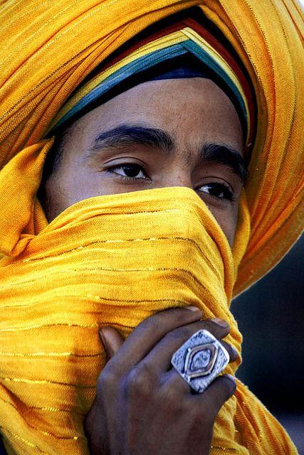 Moroccan male in yellow turban. Africa Moors المغرب (Morocco) by Andrea Loria, via Flickr