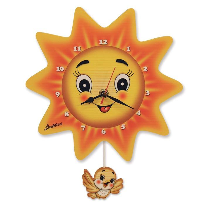 Sun Clock With Bird Pendulum | Wall Clock by Bartolucci