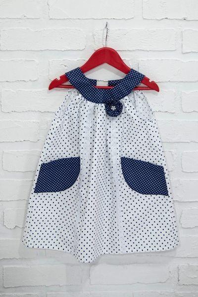 Bawełniana sukienka biało-granatowa w kropki w CASUAL NATURAL CLOTHES na DaWanda.com