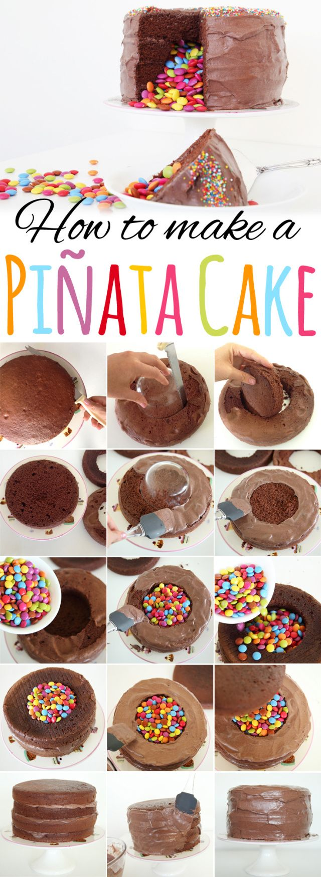 How to make a Piñata cake - Easy step-by-step instructions for a festive dessert! #pinata #pinatacake