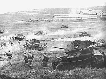 The decisive battle of World War II: Russian Red Army troops with T-34 tanks attack German positions at Kursk, 1943.